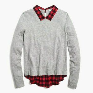 NWOT J.Crew Woven Collar Layered Sweater